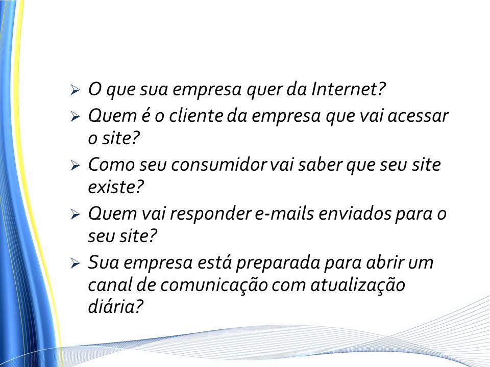 O que sua empresa quer da Internet? Quem é o cliente da empresa que vai acessar o site? Como seu consumidor vai saber que seu site existe? Quem vai re