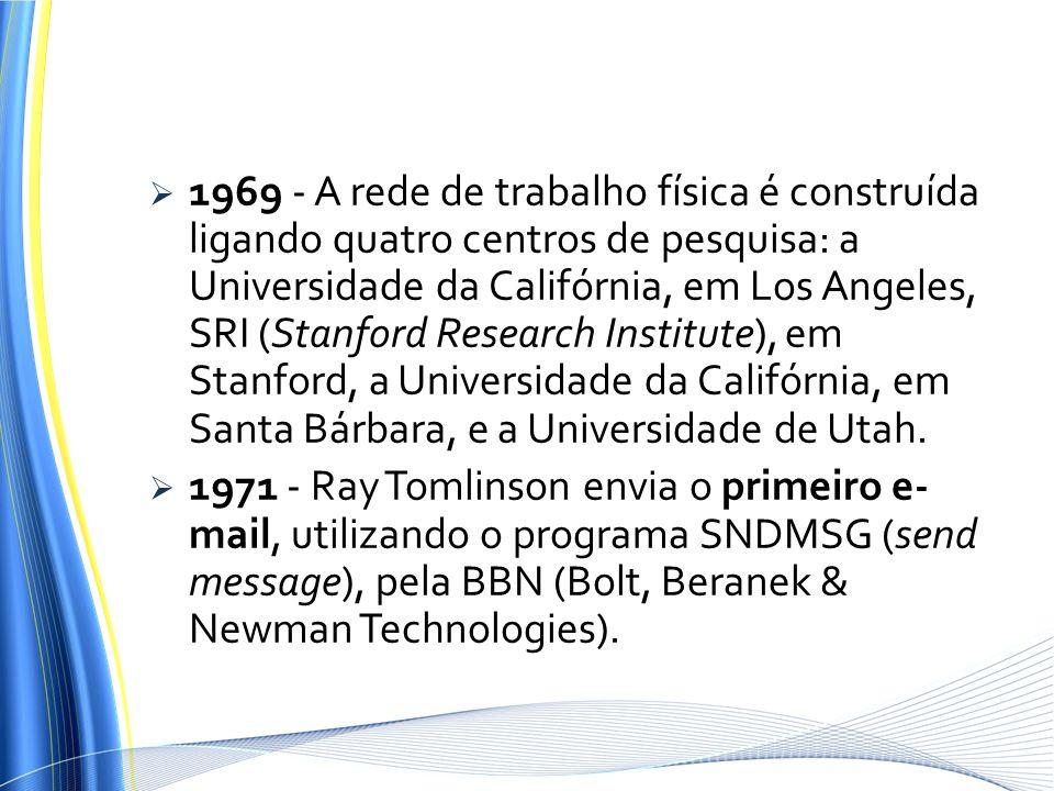 1969 - A rede de trabalho física é construída ligando quatro centros de pesquisa: a Universidade da Califórnia, em Los Angeles, SRI (Stanford Research