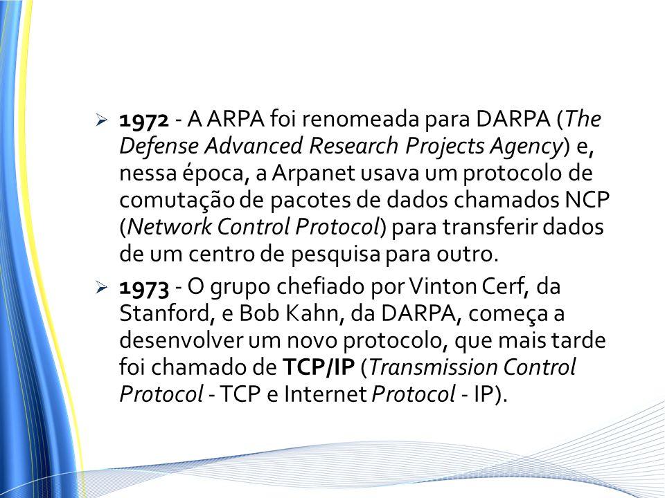 1972 - A ARPA foi renomeada para DARPA (The Defense Advanced Research Projects Agency) e, nessa época, a Arpanet usava um protocolo de comutação de pa