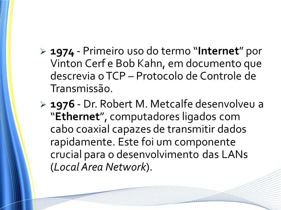 1974 - Primeiro uso do termo Internet por Vinton Cerf e Bob Kahn, em documento que descrevia o TCP – Protocolo de Controle de Transmissão. 1976 - Dr.