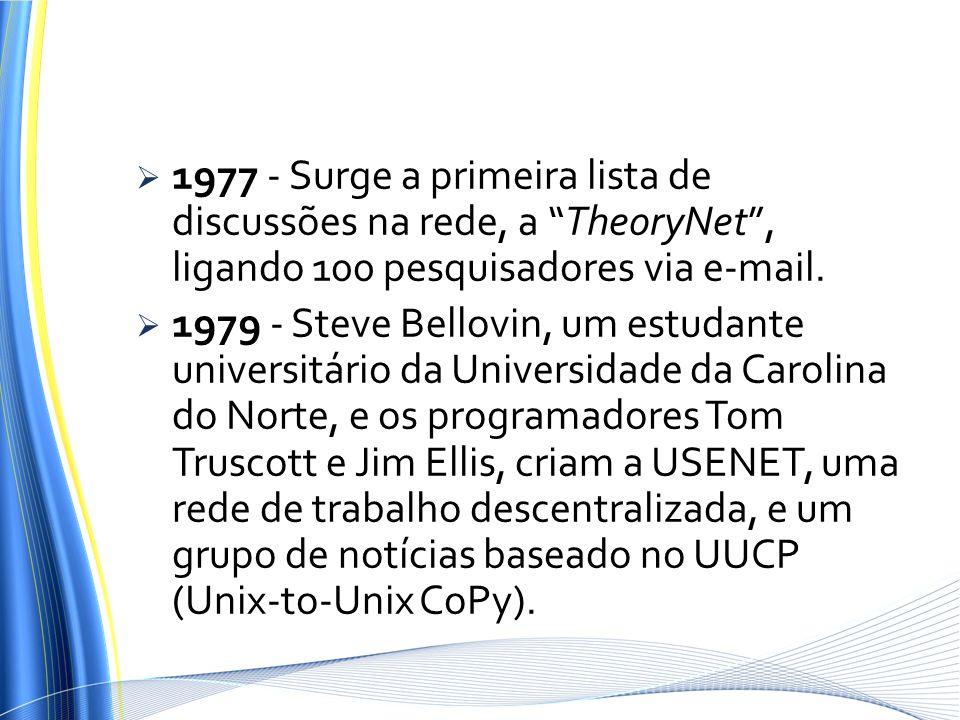 1977 - Surge a primeira lista de discussões na rede, a TheoryNet, ligando 100 pesquisadores via e-mail. 1979 - Steve Bellovin, um estudante universitá