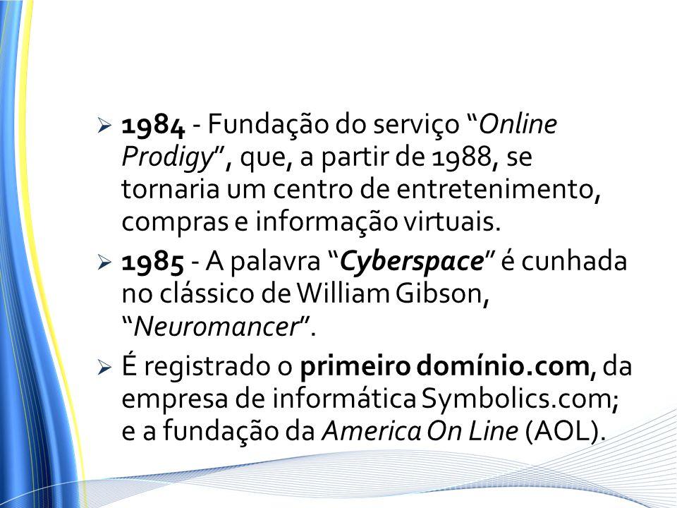 1984 - Fundação do serviço Online Prodigy, que, a partir de 1988, se tornaria um centro de entretenimento, compras e informação virtuais. 1985 - A pal