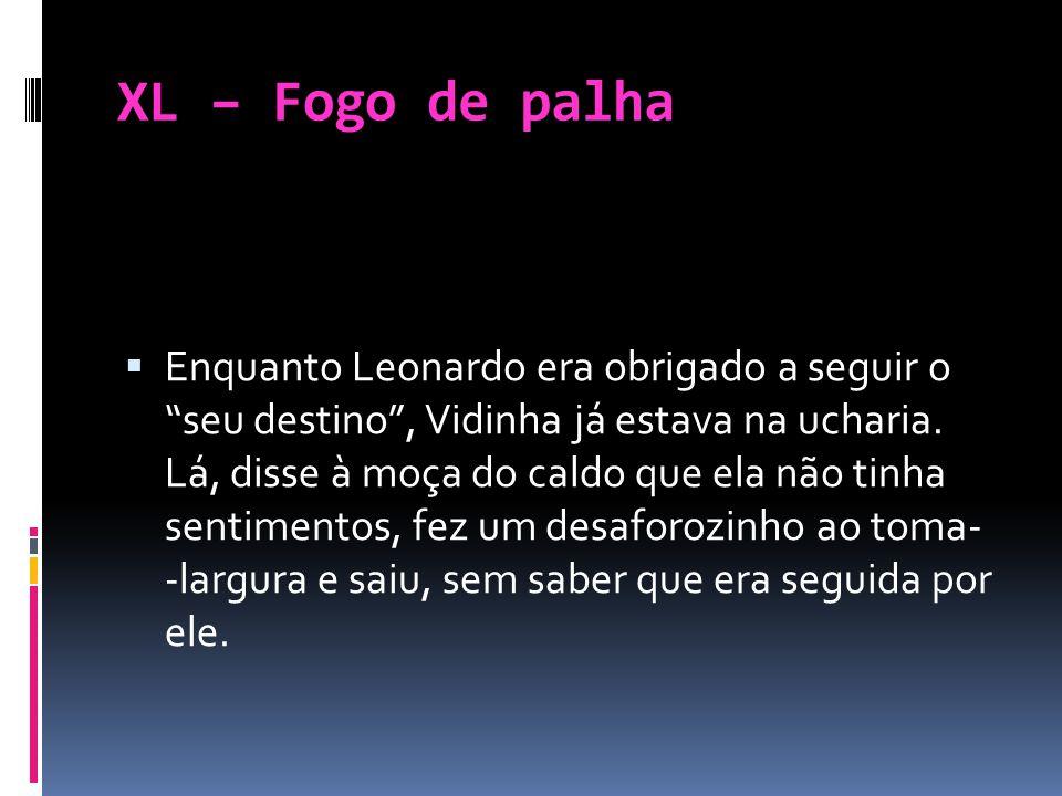 XL – Fogo de palha Enquanto Leonardo era obrigado a seguir o seu destino, Vidinha já estava na ucharia. Lá, disse à moça do caldo que ela não tinha se