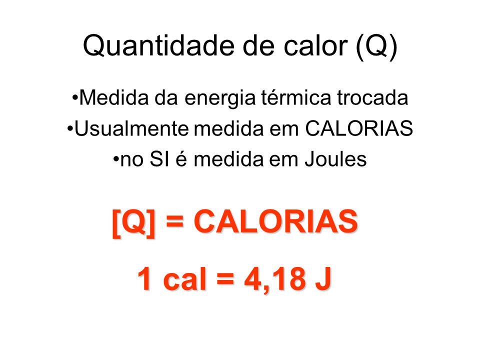 Quantidade de calor (Q) [Q] = CALORIAS 1 cal = 4,18 J Medida da energia térmica trocada Usualmente medida em CALORIAS no SI é medida em Joules