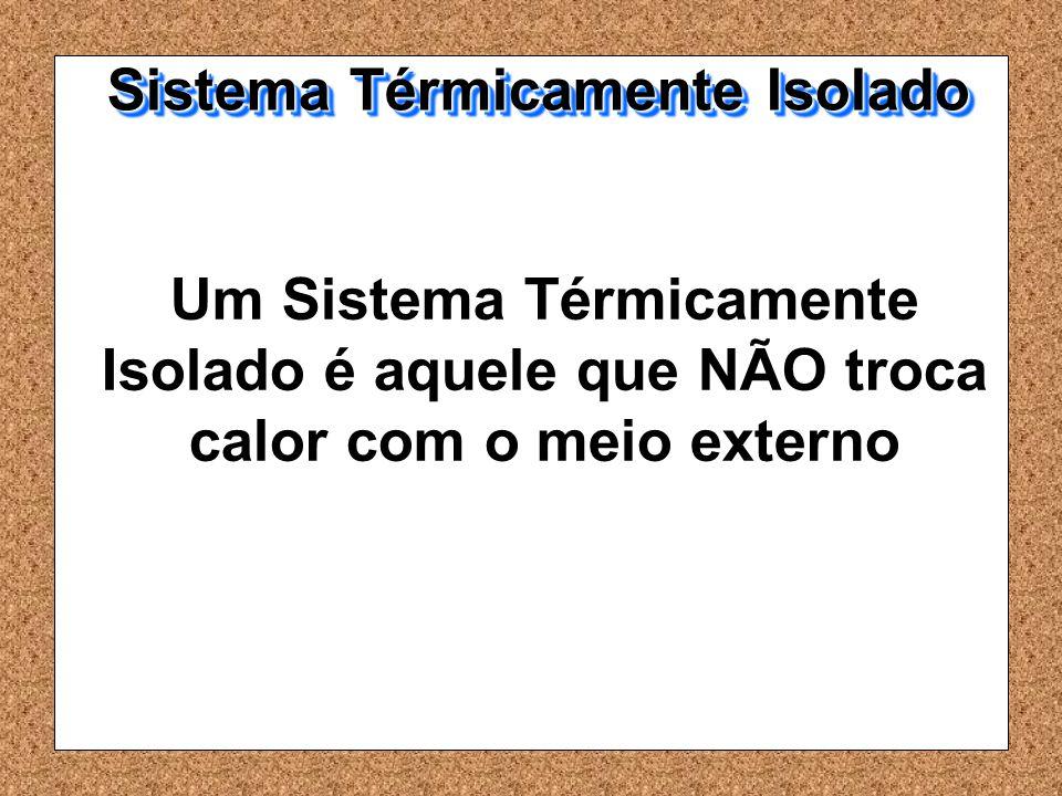 Um Sistema Térmicamente Isolado é aquele que NÃO troca calor com o meio externo Sistema Térmicamente Isolado