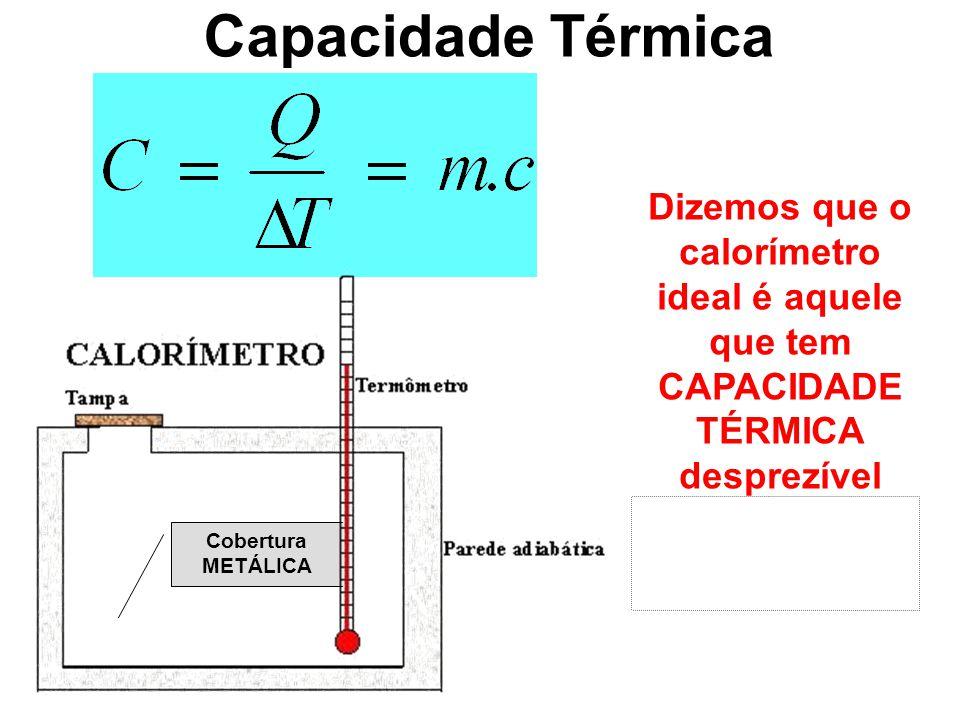 Capacidade Térmica Dizemos que o calorímetro ideal é aquele que tem CAPACIDADE TÉRMICA desprezível (próxima a zero!) Cobertura METÁLICA