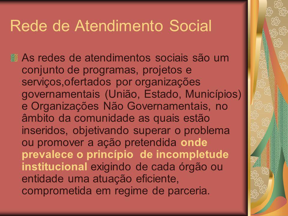 Rede de Atendimento Social As redes de atendimentos sociais são um conjunto de programas, projetos e serviços,ofertados por organizações governamentai