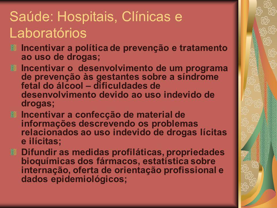 Saúde: Hospitais, Clínicas e Laboratórios Incentivar a política de prevenção e tratamento ao uso de drogas; Incentivar o desenvolvimento de um program