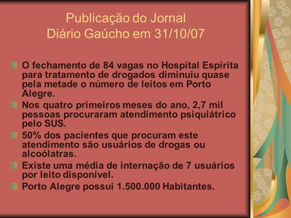 Publicação do Jornal Diário Gaúcho em 31/10/07 O fechamento de 84 vagas no Hospital Espírita para tratamento de drogados diminuiu quase pela metade o