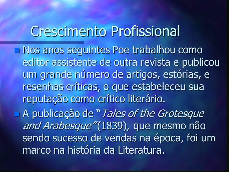 Crescimento Profissional Crescimento Profissional n Nos anos seguintes Poe trabalhou como editor assistente de outra revista e publicou um grande núme