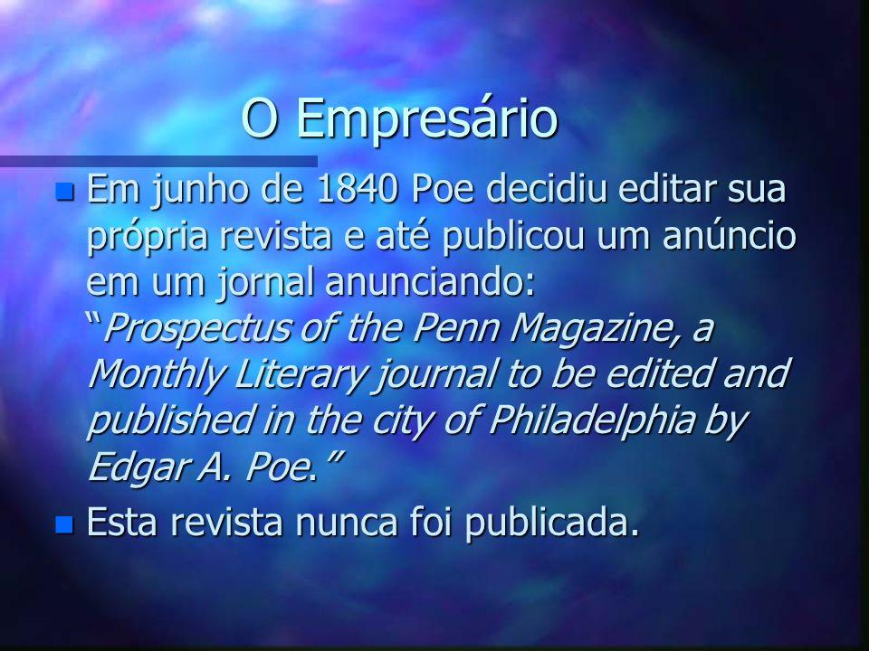 O Empresário O Empresário n Em junho de 1840 Poe decidiu editar sua própria revista e até publicou um anúncio em um jornal anunciando:Prospectus of th