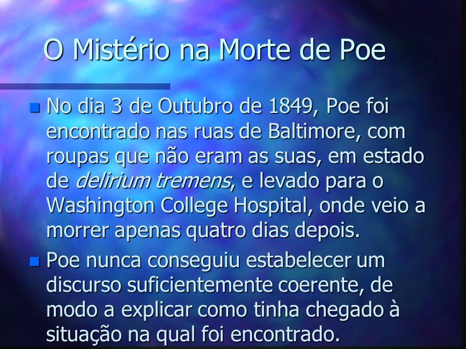 O Mistério na Morte de Poe n No dia 3 de Outubro de 1849, Poe foi encontrado nas ruas de Baltimore, com roupas que não eram as suas, em estado de deli