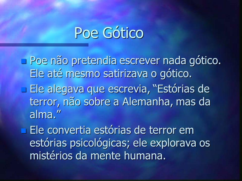 Poe Gótico n Poe não pretendia escrever nada gótico. Ele até mesmo satirizava o gótico. n Ele alegava que escrevia, Estórias de terror, não sobre a Al