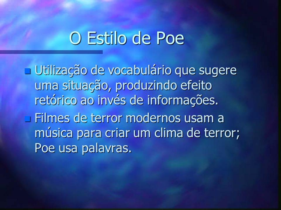 O Estilo de Poe n Utilização de vocabulário que sugere uma situação, produzindo efeito retórico ao invés de informações. n Filmes de terror modernos u
