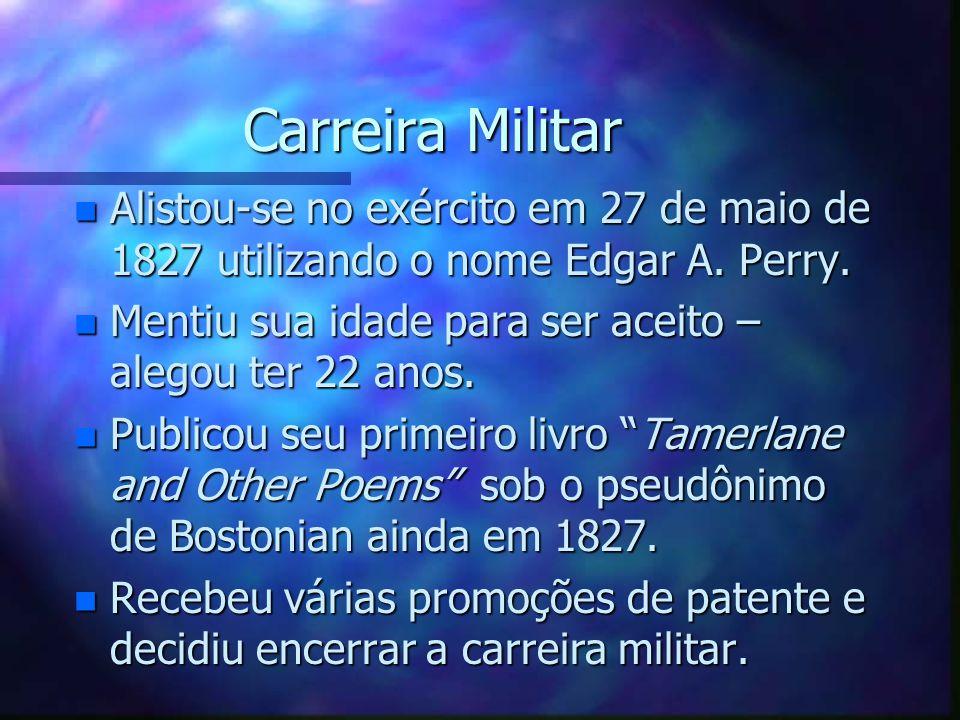 Carreira Militar n Alistou-se no exército em 27 de maio de 1827 utilizando o nome Edgar A. Perry. n Mentiu sua idade para ser aceito – alegou ter 22 a