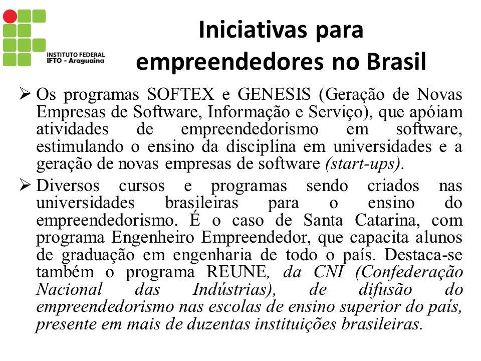 Iniciativas para empreendedores no Brasil Os programas SOFTEX e GENESIS (Geração de Novas Empresas de Software, Informação e Serviço), que apóiam ativ