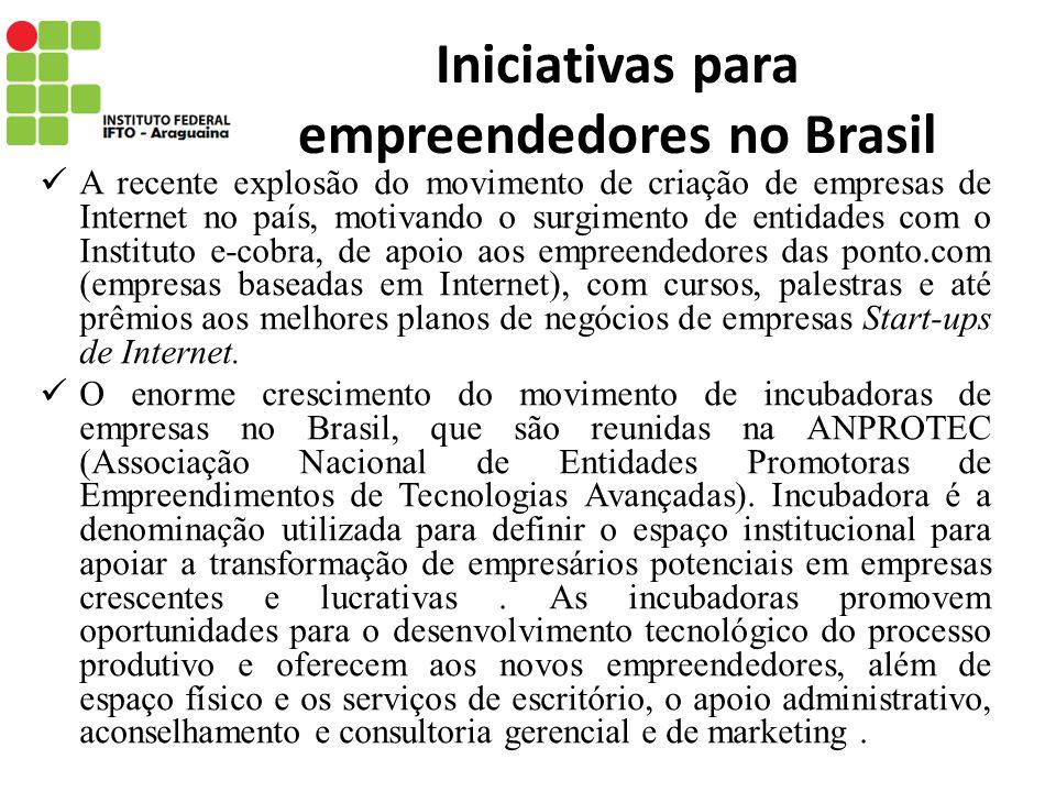 Iniciativas para empreendedores no Brasil A recente explosão do movimento de criação de empresas de Internet no país, motivando o surgimento de entida