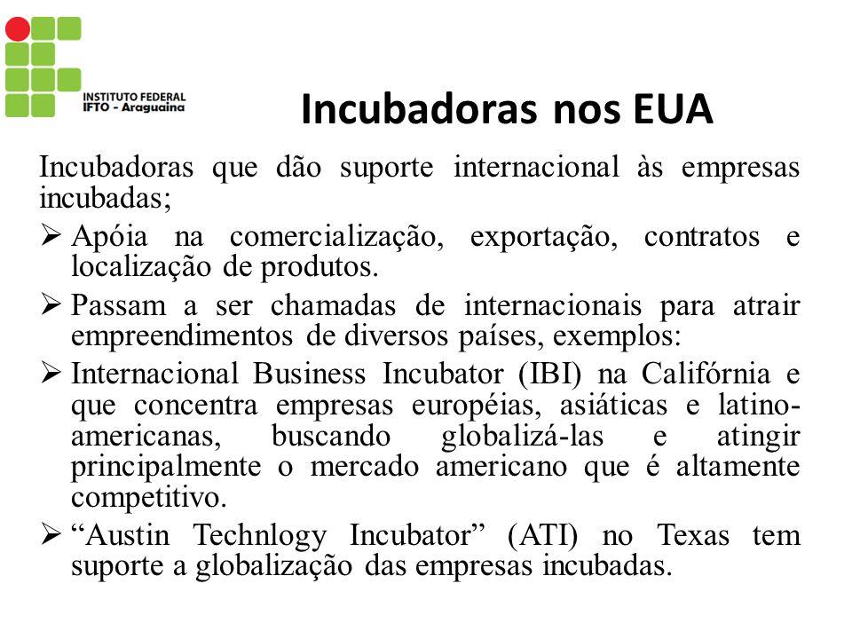 Incubadoras nos EUA Incubadoras que dão suporte internacional às empresas incubadas; Apóia na comercialização, exportação, contratos e localização de