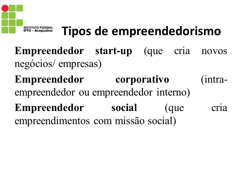 Tipos de empreendedorismo Empreendedor start-up (que cria novos negócios/ empresas) Empreendedor corporativo (intra- empreendedor ou empreendedor inte
