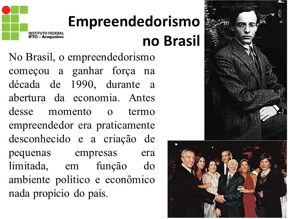 Empreendedorismo no Brasil No Brasil, o empreendedorismo começou a ganhar força na década de 1990, durante a abertura da economia. Antes desse momento