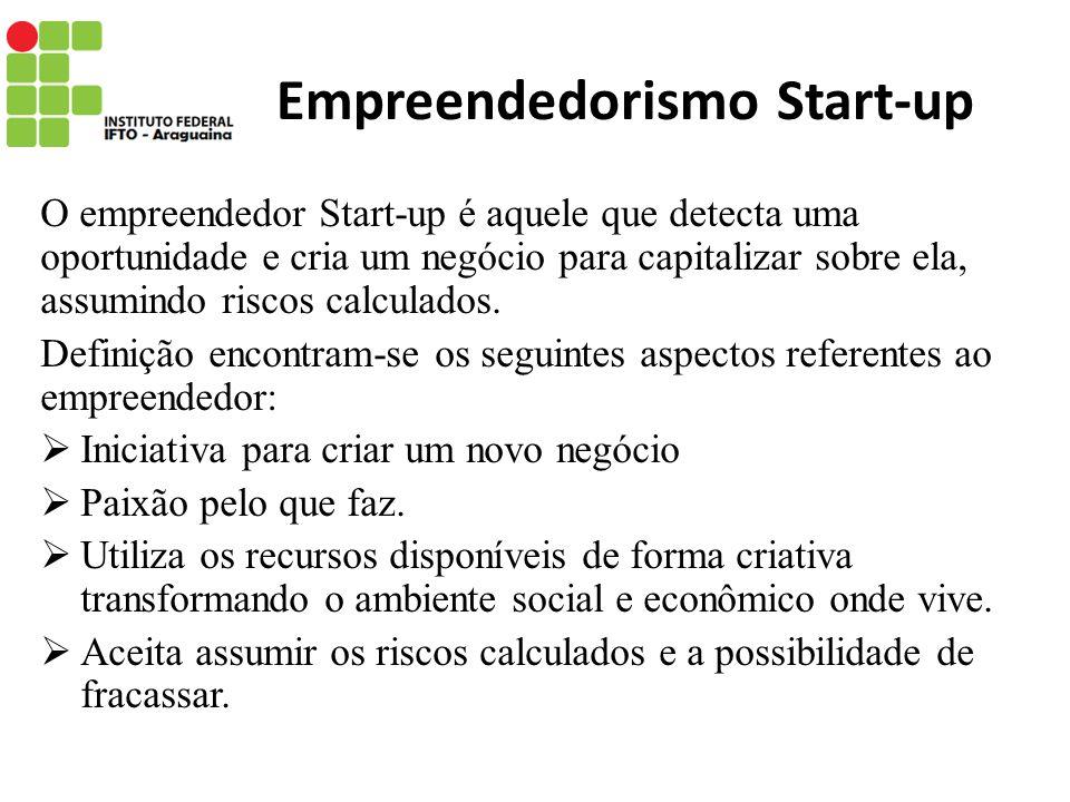 Empreendedorismo Start-up O empreendedor Start-up é aquele que detecta uma oportunidade e cria um negócio para capitalizar sobre ela, assumindo riscos