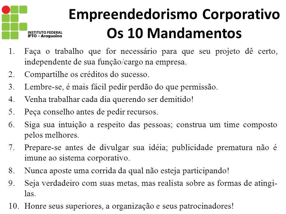 Empreendedorismo Corporativo Os 10 Mandamentos 1.Faça o trabalho que for necessário para que seu projeto dê certo, independente de sua função/cargo na