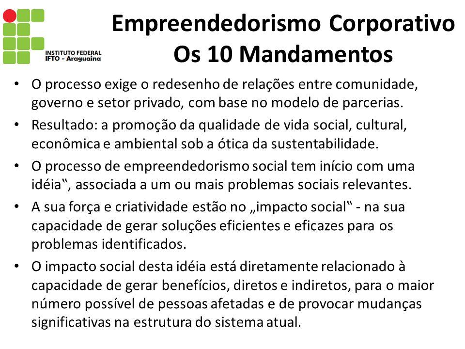 Empreendedorismo Corporativo Os 10 Mandamentos O processo exige o redesenho de relações entre comunidade, governo e setor privado, com base no modelo