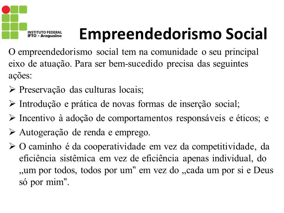 Empreendedorismo Social O empreendedorismo social tem na comunidade o seu principal eixo de atuação. Para ser bem-sucedido precisa das seguintes ações