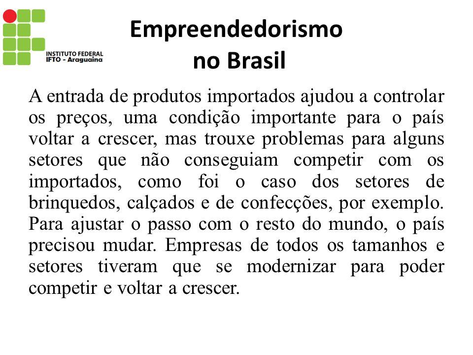 Empreendedorismo no Brasil A entrada de produtos importados ajudou a controlar os preços, uma condição importante para o país voltar a crescer, mas tr