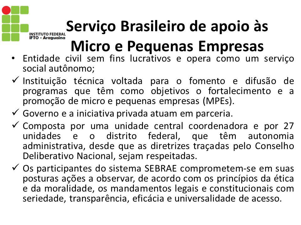 Serviço Brasileiro de apoio às Micro e Pequenas Empresas Entidade civil sem fins lucrativos e opera como um serviço social autônomo; Instituição técni