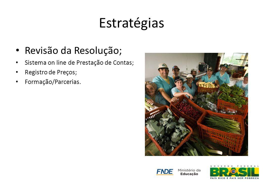 Estratégias Revisão da Resolução; Sistema on line de Prestação de Contas; Registro de Preços; Formação/Parcerias.