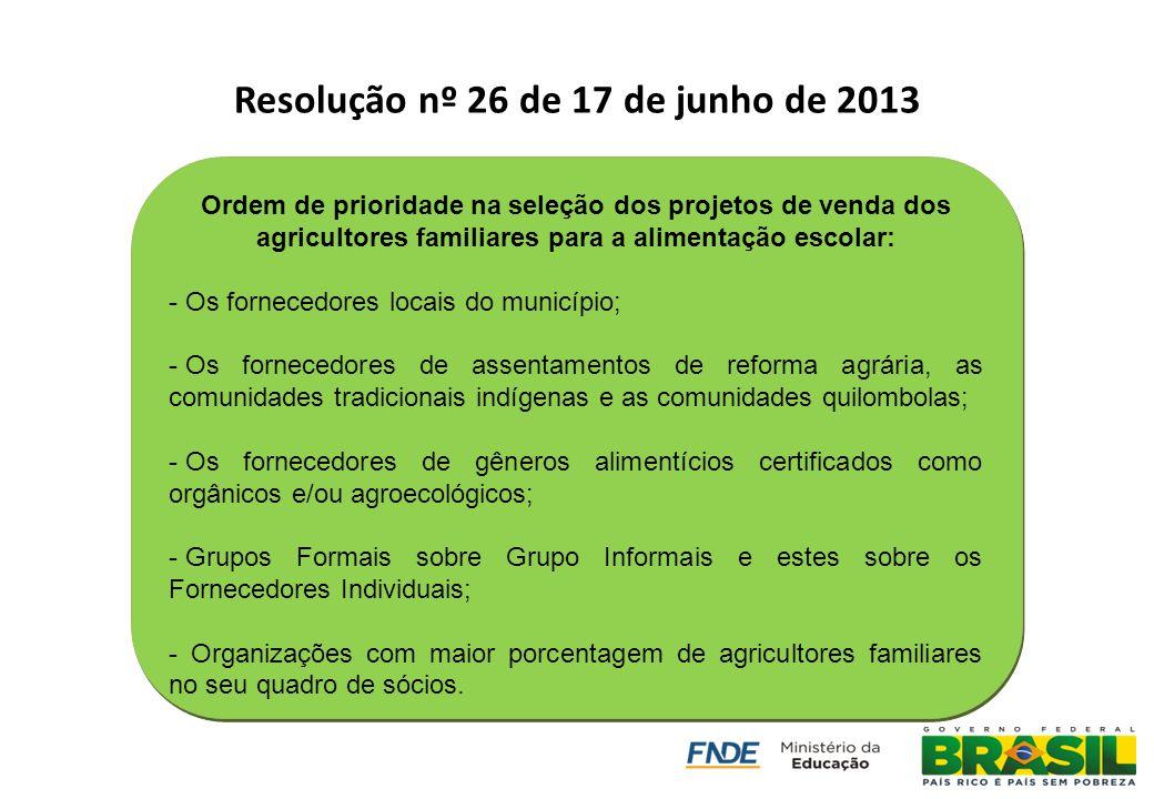 Resolução nº 26 de 17 de junho de 2013 Ordem de prioridade na seleção dos projetos de venda dos agricultores familiares para a alimentação escolar: -