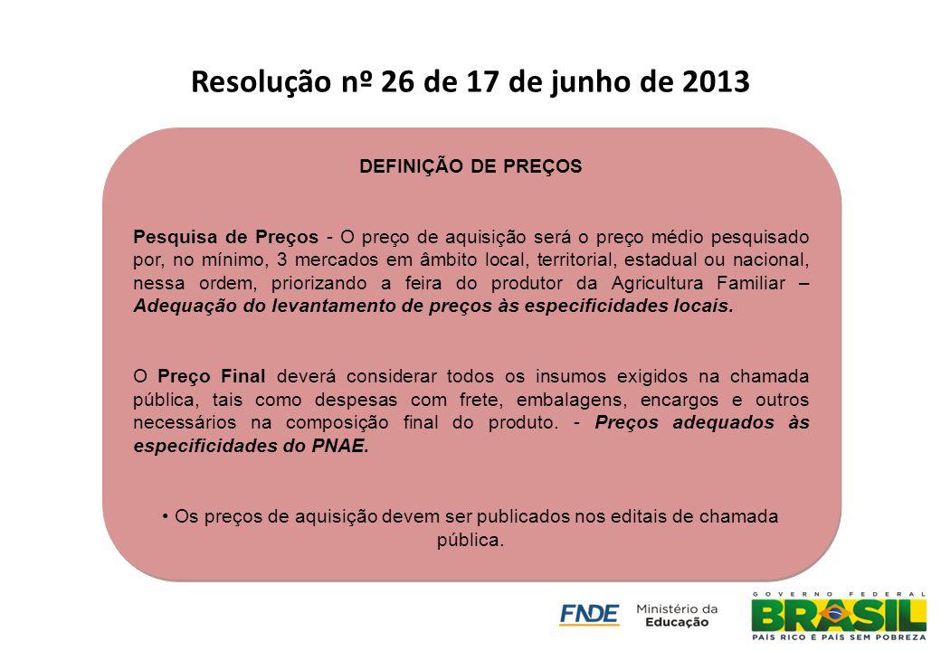 Resolução nº 26 de 17 de junho de 2013 DEFINIÇÃO DE PREÇOS Pesquisa de Preços - O preço de aquisição será o preço médio pesquisado por, no mínimo, 3 m