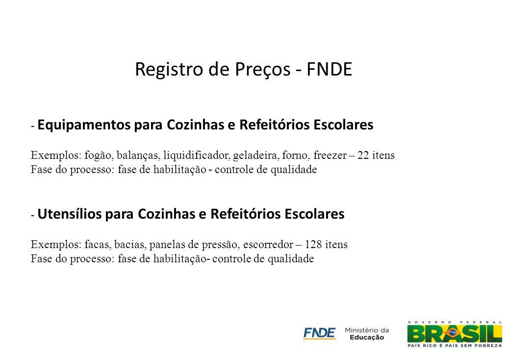 Registro de Preços - FNDE - Equipamentos para Cozinhas e Refeitórios Escolares Exemplos: fogão, balanças, liquidificador, geladeira, forno, freezer –