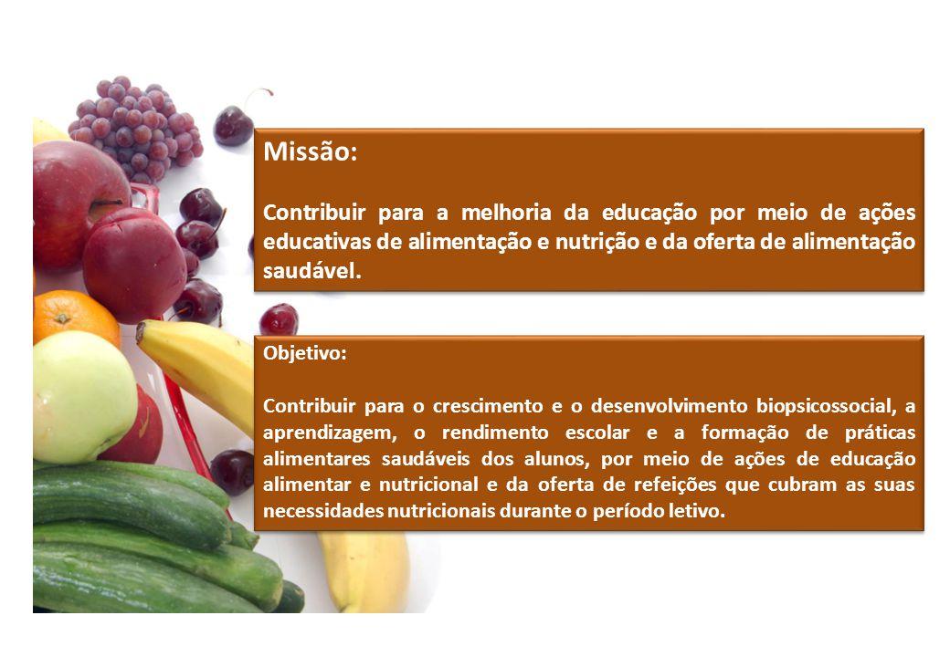 Missão: Contribuir para a melhoria da educação por meio de ações educativas de alimentação e nutrição e da oferta de alimentação saudável. Missão: Con