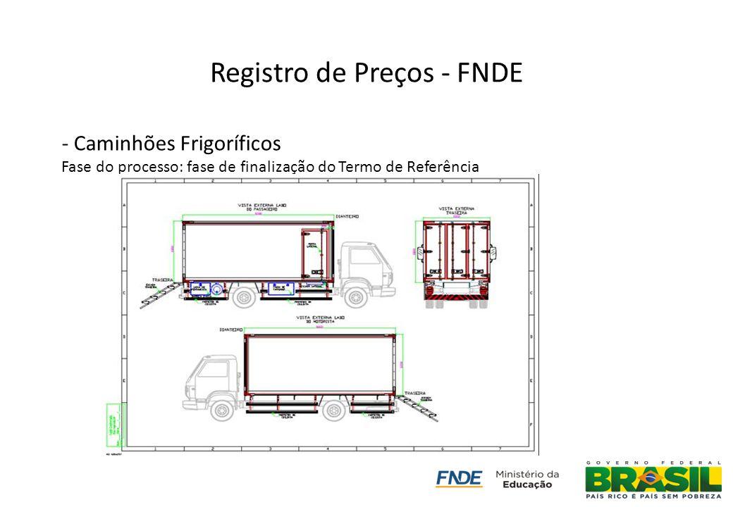 Registro de Preços - FNDE - Caminhões Frigoríficos Fase do processo: fase de finalização do Termo de Referência