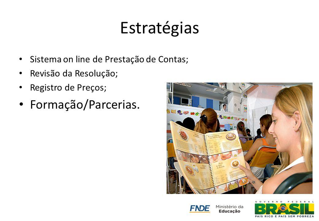 Estratégias Sistema on line de Prestação de Contas; Revisão da Resolução; Registro de Preços; Formação/Parcerias.