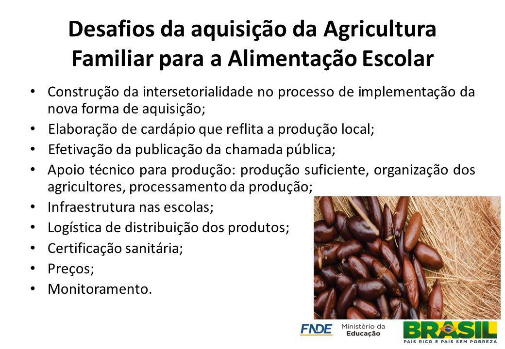 Desafios da aquisição da Agricultura Familiar para a Alimentação Escolar Construção da intersetorialidade no processo de implementação da nova forma d
