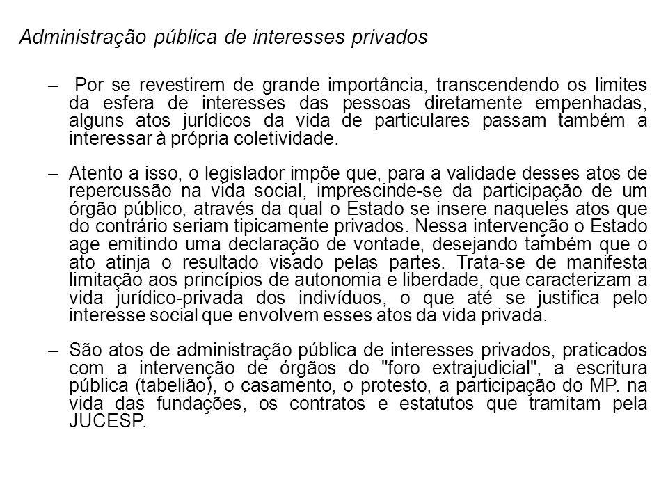 Administração pública de interesses privados – Por se revestirem de grande importância, transcendendo os limites da esfera de interesses das pessoas d