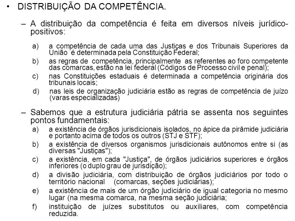 DISTRIBUIÇÃO DA COMPETÊNCIA. –A distribuição da competência é feita em diversos níveis jurídico- positivos: a)a competência de cada uma das Justiças e