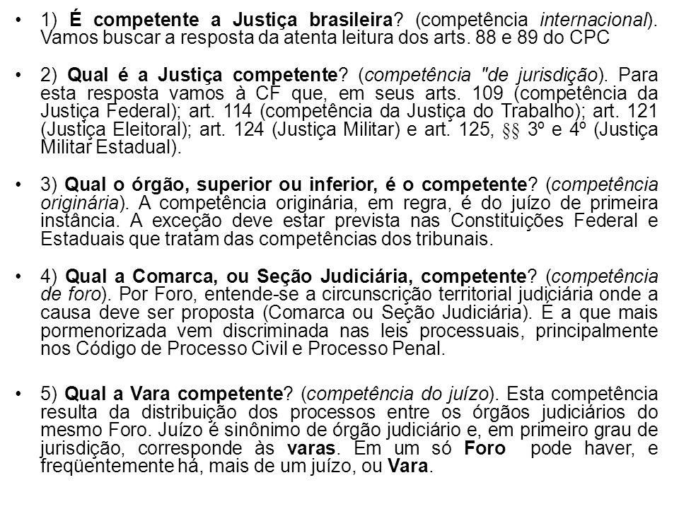 1) É competente a Justiça brasileira? (competência internacional). Vamos buscar a resposta da atenta leitura dos arts. 88 e 89 do CPC 2) Qual é a Just
