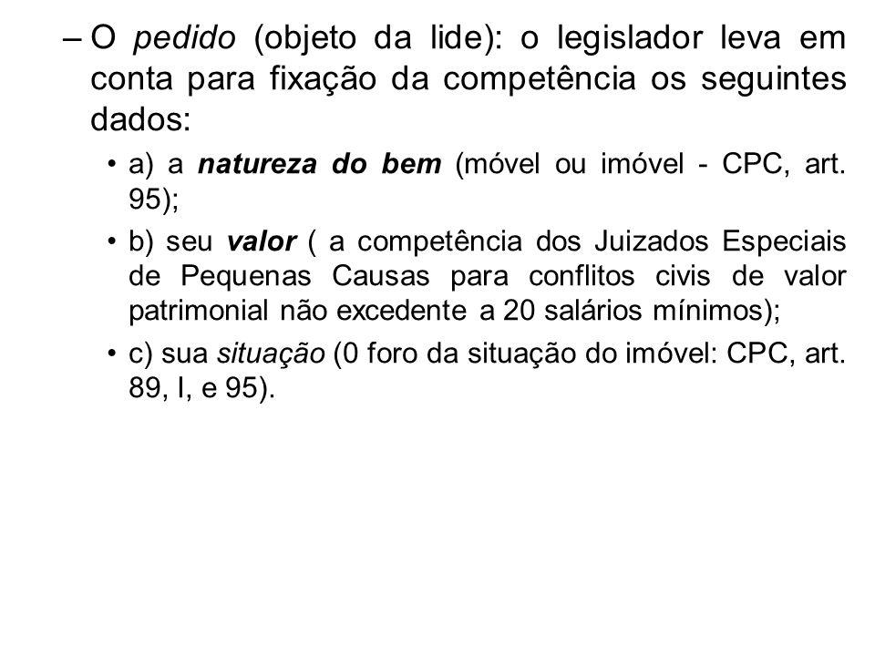 –O pedido (objeto da lide): o legislador leva em conta para fixação da competência os seguintes dados: a) a natureza do bem (móvel ou imóvel - CPC, ar