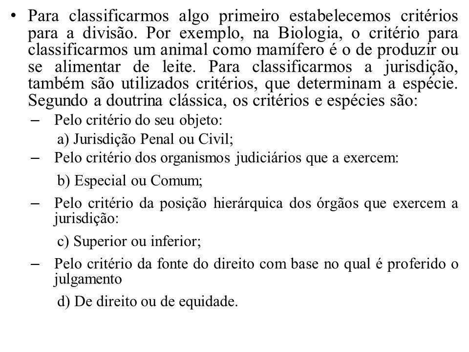 a) Jurisdição Penal ou Civil – O critério para diferenciação entre Penal ou Civil é o do objeto da Ação.