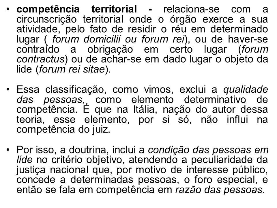 competência territorial - relaciona-se com a circunscrição territorial onde o órgão exerce a sua atividade, pelo fato de residir o réu em determinado