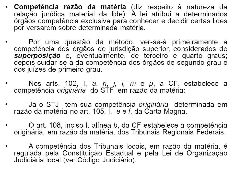 Competência razão da matéria (diz respeito à natureza da relação jurídica material da lide): A lei atribui a determinados órgãos competência exclusiva