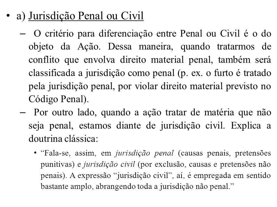 a) Jurisdição Penal ou Civil – O critério para diferenciação entre Penal ou Civil é o do objeto da Ação. Dessa maneira, quando tratarmos de conflito q