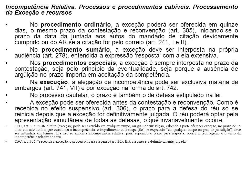 Incompetência Relativa. Processos e procedimentos cabíveis. Processamento da Exceção e recursos No procedimento ordinário, a exceção poderá ser oferec