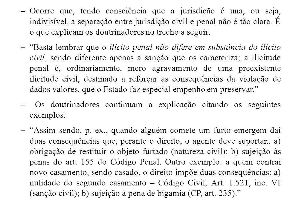 – Ocorre que, tendo consciência que a jurisdição é una, ou seja, indivisível, a separação entre jurisdição civil e penal não é tão clara. É o que expl