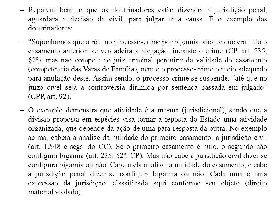 – Reparem bem, o que os doutrinadores estão dizendo, a jurisdição penal, aguardará a decisão da civil, para julgar uma causa. É o exemplo dos doutrina