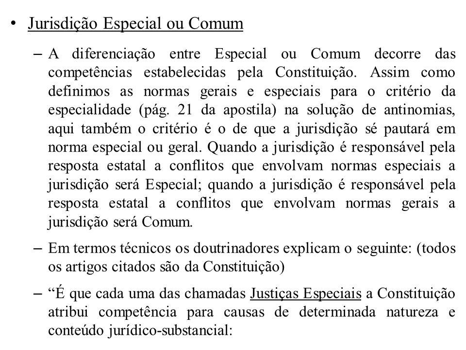 Jurisdição Especial ou Comum – A diferenciação entre Especial ou Comum decorre das competências estabelecidas pela Constituição. Assim como definimos